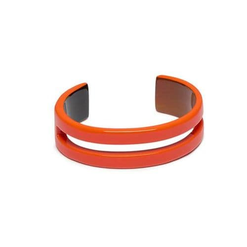Branch Jewellery Natural Buffalo Horn Cut Out Cuff Bangle in Lacquered Orange