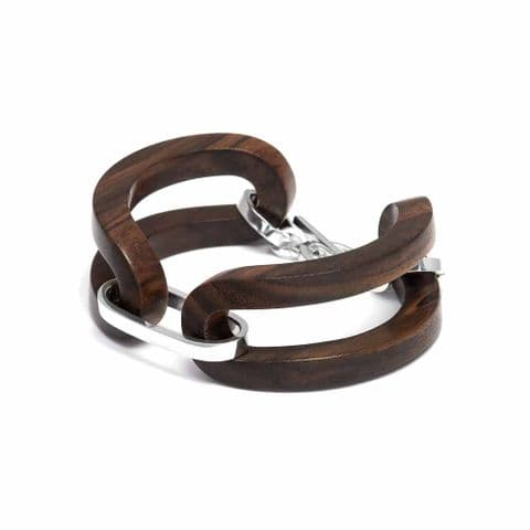 Branch Jewellery Open Sided Rosewood Bracelet with Sterling Silver