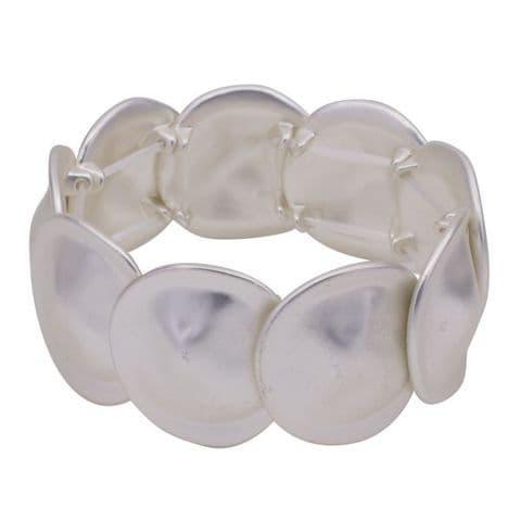 Brushed Silver Elasticated Bracelet with Large Irregular Shaped Discs