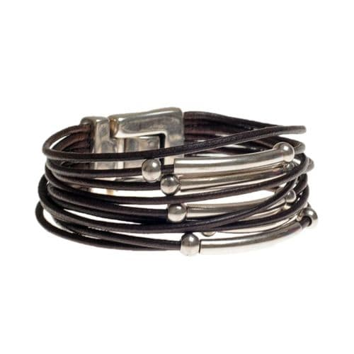 Ciclon Brown Leather Layered Bracelet with Silver Feature