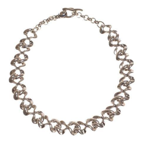 Ciclon Irregular Shaped Silver Link Necklace