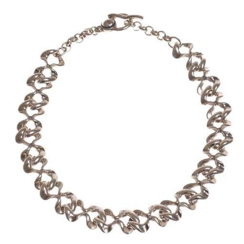Ciclon Irregular Shaped Silver Link Necklace