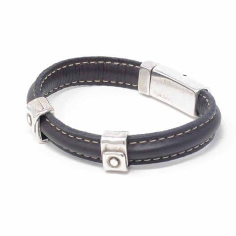 Ciclon Jewellery Black Leather Bracelet with Silver Wrap Details