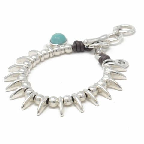 Ciclon Jewellery Bracelet with Turquoise Resin Feature and Spike Detail