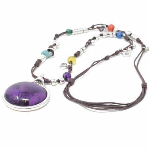 Ciclon Jewellery Long Multi Necklace with Round Purple Resin Pendant