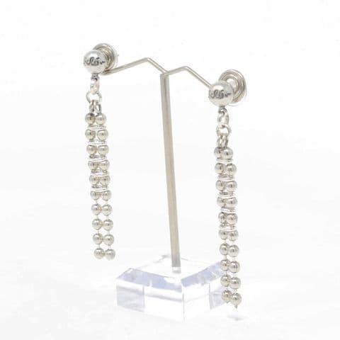Ciclon Jewellery Long Silver Ball Detail Earrings