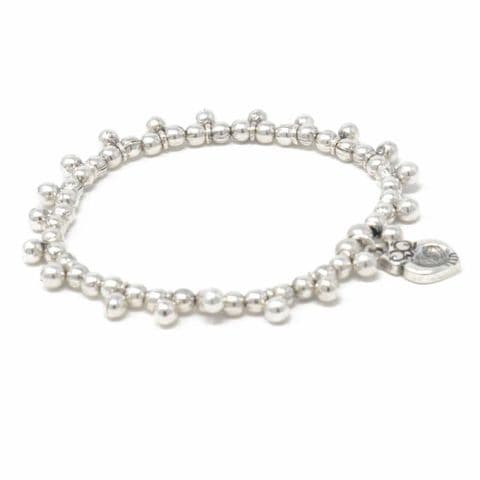 Ciclon Jewellery Owl and Silver Bobble Elasticated Bracelet