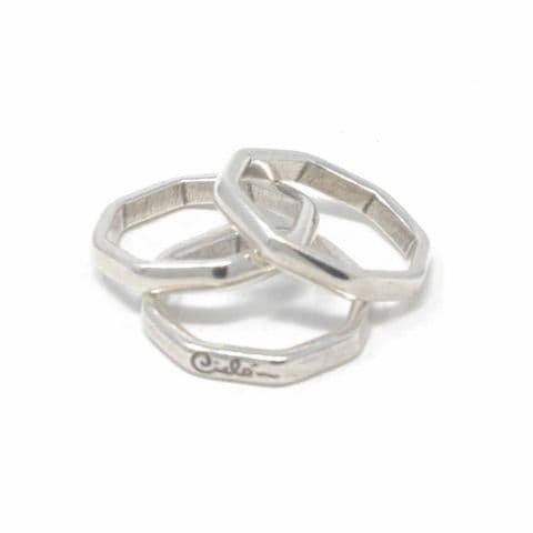 Ciclon Jewellery Ring Set Of Stacking Hexagonal Rings