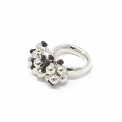 Ciclon Jewellery Ring with Silver Balls and Brown Leather Details
