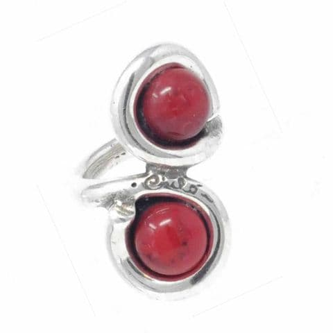 Ciclon Jewellery Ring with Two Red Resin Stones