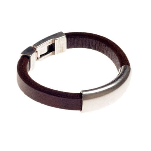 Ciclon Leather Bracelet with Silver Clasp Fastening