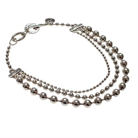 Ciclon Necklace With Three Rows Of Silver Balls