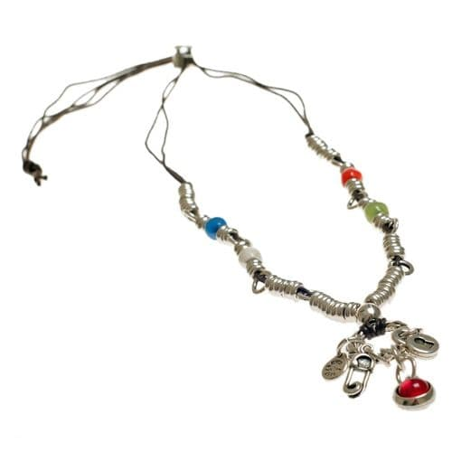 Ciclon Padlock and Safety Pin Charm Necklace
