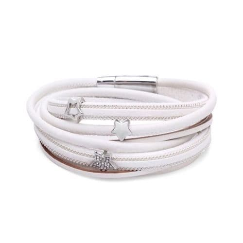 Double Wrap Sparkle Stars Leather Bracelet in White