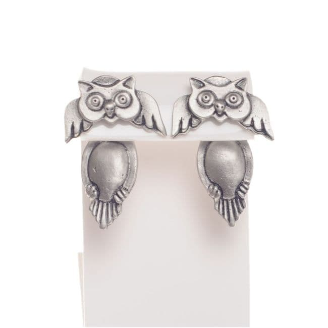 Handmade Pewter Owl Earrings