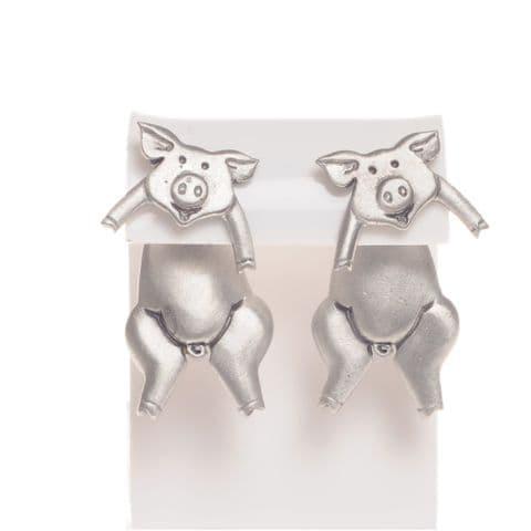Handmade Pewter Pig Earrings