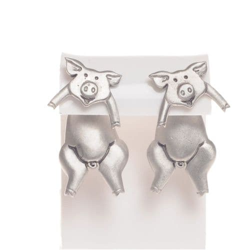Handmade Pewter Pig Earrings