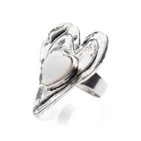 Irregular Heart Shaped Ring With White Plastic Feature