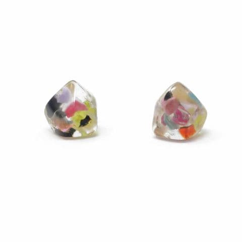 Jackie Brazil Abstract Camille Stud Earrings in Clear Cascade