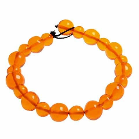 Jackie Brazil Abstract Short Balls Necklace in Transparent Orange