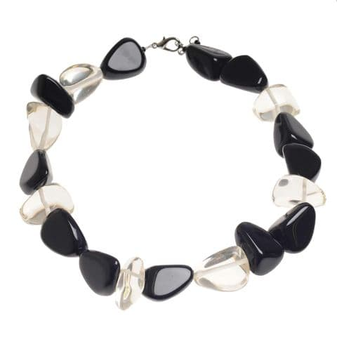 Jackie Brazil Flintstones Resin Necklace in Black and Clear