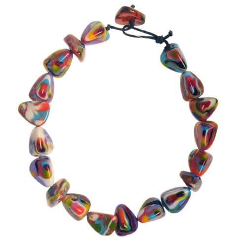 Jackie Brazil Flintstones resin necklace in Kandinsky