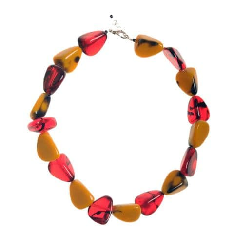 Jackie Brazil Flintstones Resin Necklace in tortoise Mix