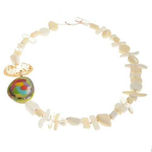 Jackie Brazil Fusion Long Resin Necklace in Cream Mix