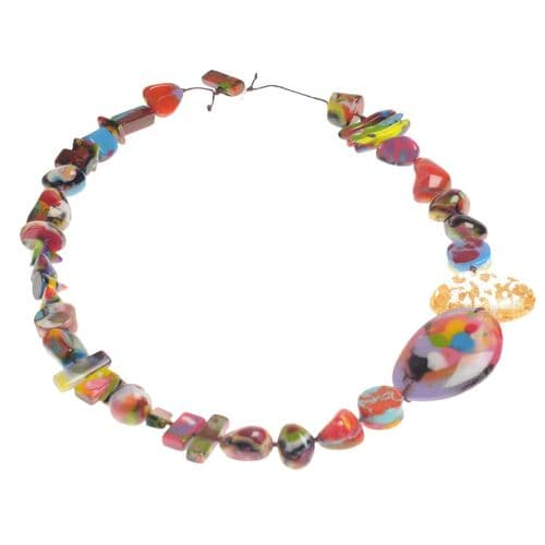 Jackie Brazil Fusion Long Resin Necklace in Kandinsky