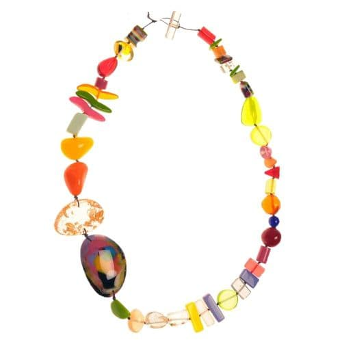 Jackie Brazil Fusion Long Resin Necklace in Mix