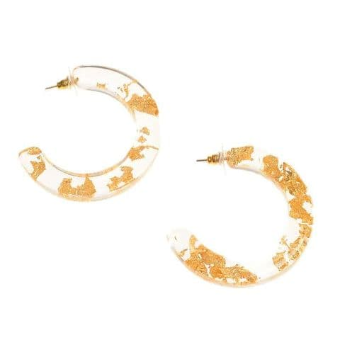 Jackie Brazil Hoop on Pin Circus Earrings in Gold Flake