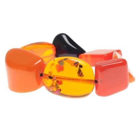 Jackie Brazil Indiana Multi Bead Bracelet in Orange