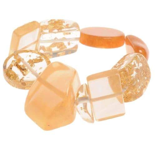 Jackie Brazil Indiana Multi Bead Resin Bracelet in Gold