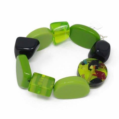 Jackie Brazil Indiana Multi Bead Resin Bracelet in Green