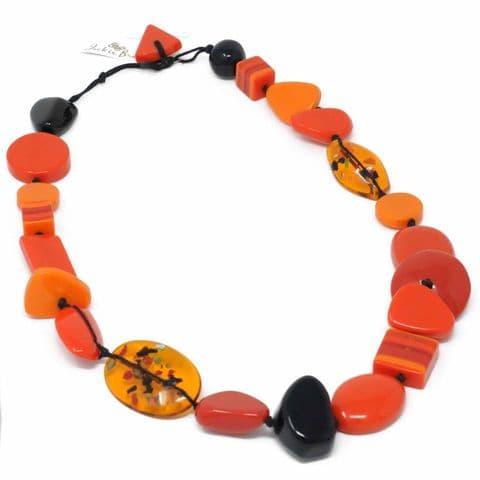Jackie Brazil Indiana short necklace in Orange
