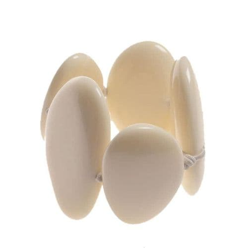 Jackie Brazil Large Flat Riverstone Bracelet in Cream