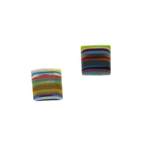 Jackie Brazil Liquorice Allsort Small Square Clip on Earrings (1)