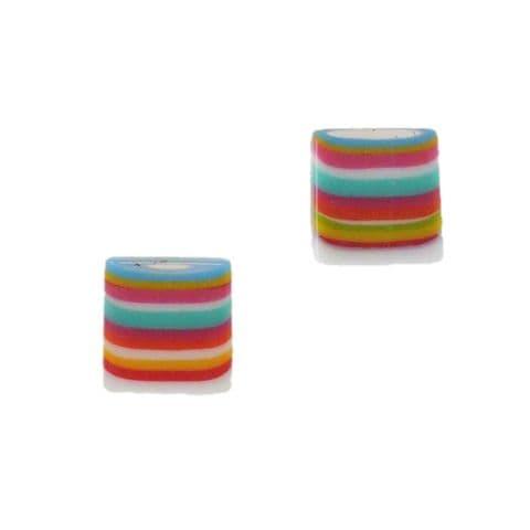 Jackie Brazil Liquorice Allsort Small Square Stud Earrings
