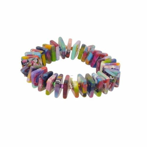 Jackie Brazil Liquorice Allsorts Africa Beads on Elastic Bracelet
