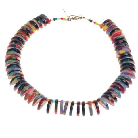 Jackie Brazil Liquorice Allsorts Half Circles Necklace in Liquorice Mix