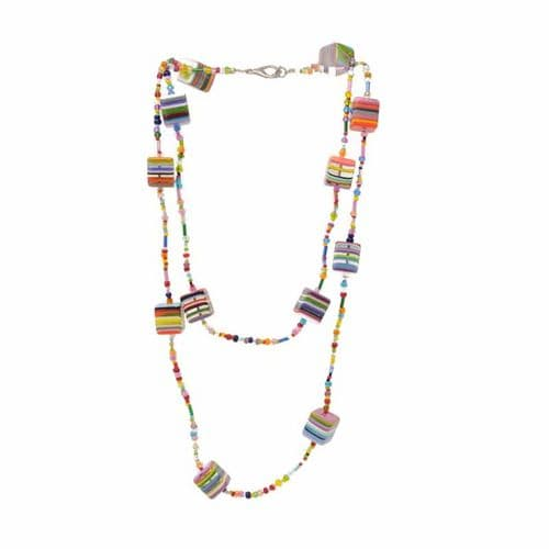 Jackie Brazil Liquorice Allsorts  Squares and Beads Africa Necklace in Liquorice Mix