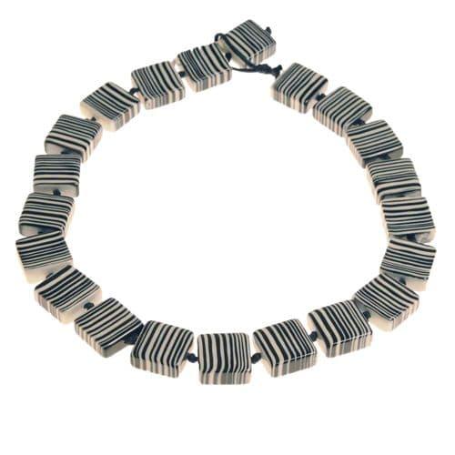 Jackie Brazil Liquorice Half cube necklace in Black & White
