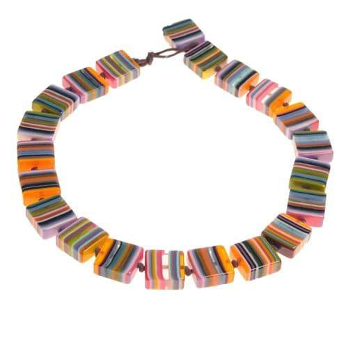 Jackie Brazil Liquorice Half cube necklace in Mix Colours Orange