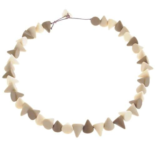 Jackie Brazil Matt Finish Small Cones Resin Necklace in Boheme Natural Mix