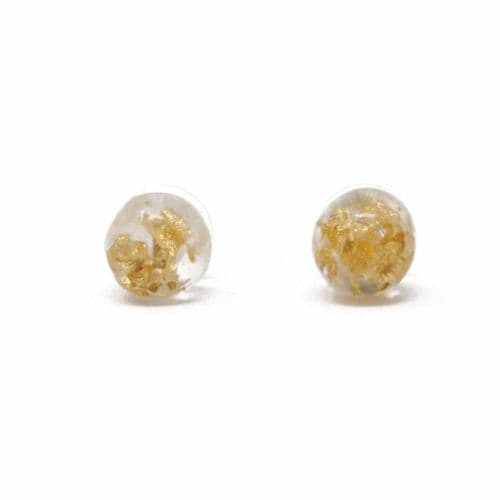 Jackie Brazil Resin Stud Earrings in Gold Flake and Clear Resin