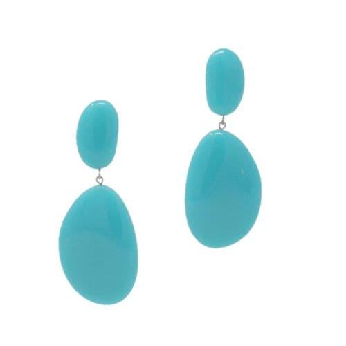 Jackie Brazil Riverstones on Stud Earrings in Turquoise