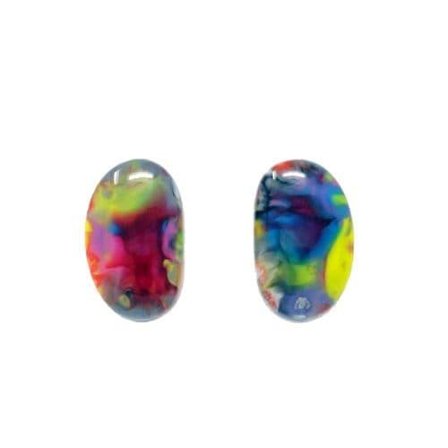 Jackie Brazil Single Stone Oval Stud Earrings in Kandinsky