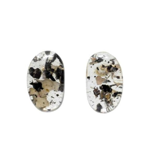 Jackie Brazil Single Stone Oval Stud Earrings in Seaweed