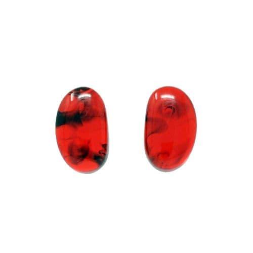 Jackie Brazil Single Stone Oval Stud Earrings in Tortoise
