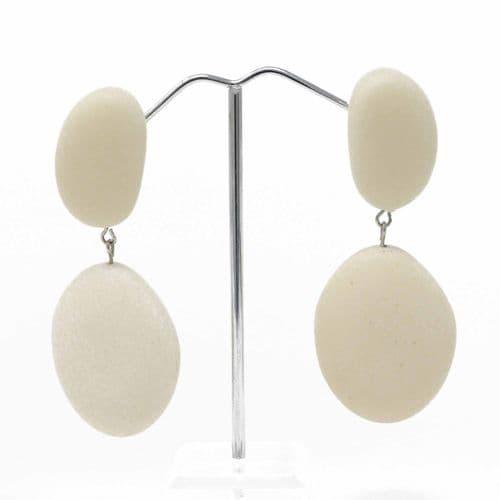 Jackie Brazil Small Riverstones on Stud Earrings in Cream Matte Finish